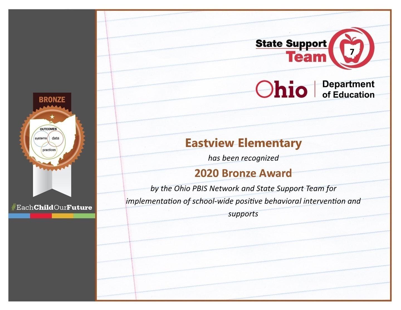 Eastview Elementary Certificate