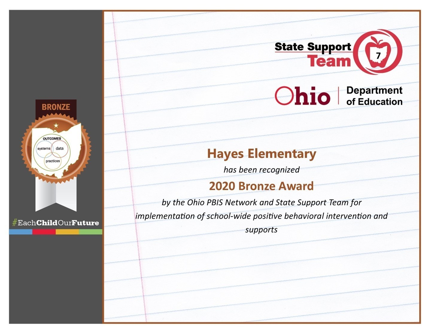 Hayes Elementary Certificate