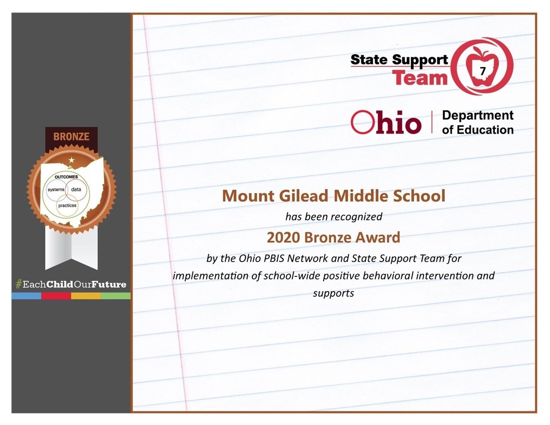 Mount Gilead Middle School Certificate