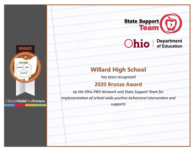 Willard High School Certificate