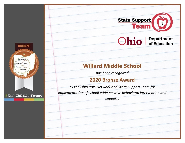 Willard Middle School Certificate